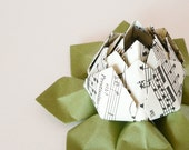 RESERVE LISTING for countrynest1879 -- Origami Lotus Flower Decoration or Favor - made from vintage sheet music