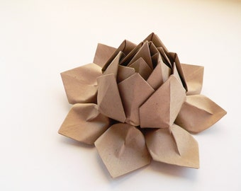 Origami Lotus Flower Decoration, Gift, or Favor // Paper Bag leaf and blossom