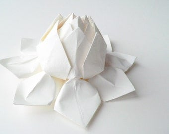 Handmade Paper Flower -  Origami Lotus Flower - all white - gift for winter/ summer wedding, bridesmaids, baptism, christening, confirmation