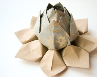 Origami Lotus Flower Decoration or Favor // made from grey metallic filigree paper with natural tan leaves
