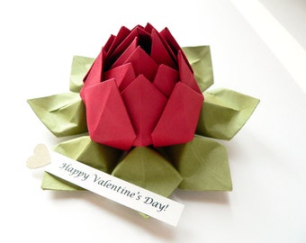 PERSONALIZED Paper Flower - Origami Lotus Flower with Romantic Message in Deep Red and Moss Green with gift box for anniversary, I love you