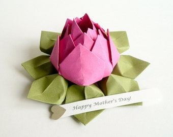 Mother's Day Gift - Paper Flower - PERSONALIZED Message Origami Lotus Flower / Fuchsia Pink & Moss Green + gift box