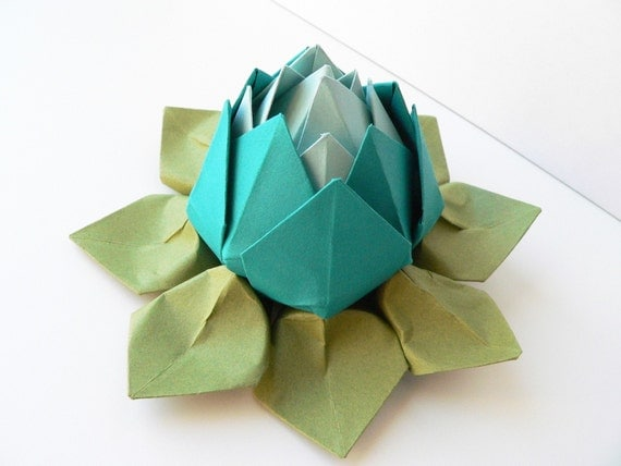 Origami Lotus Flower Decoration or Favor // Peacock, Robin's Egg Blue, and Moss Green