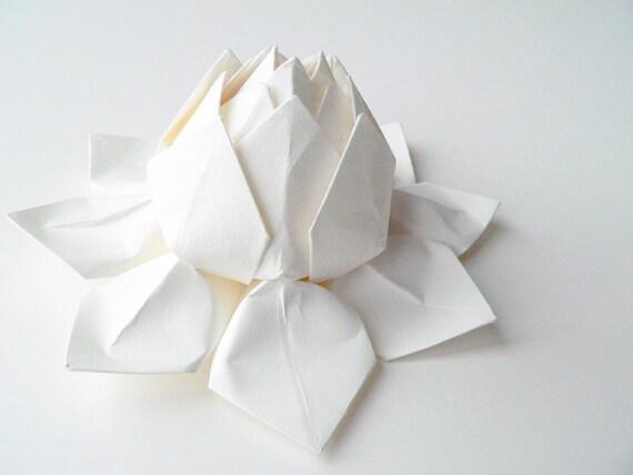 Handmade Paper Flower -  Origami Lotus Flower - all white - gift for winter/ summer wedding, bridesmaids, baptism, christening, confirmation