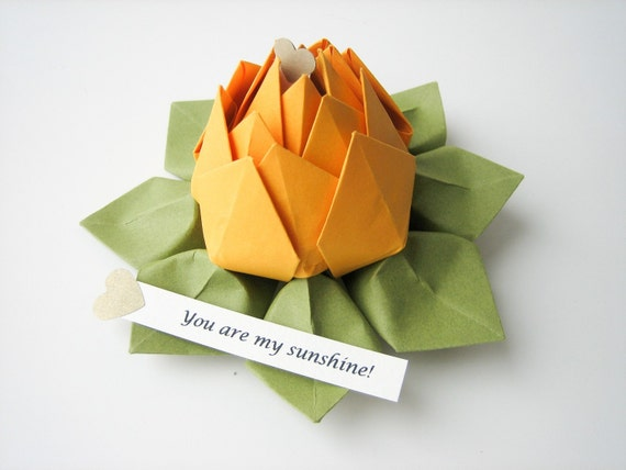 Origami Lotus Flower - your PERSONALIZED Message - Yellow Gold, Moss Green - with gift box - Easter, birthday, graduation, congratulations