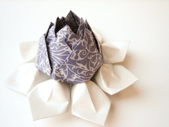 SALE - Origami Lotus Flower Decoration or Favor // made from purple and silver filigree art paper with moss green leaves