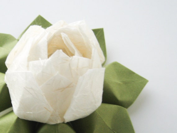 Origami Lotus Flower Decoration or Favor made from Japanese Paper with rice straw and moss green leaves