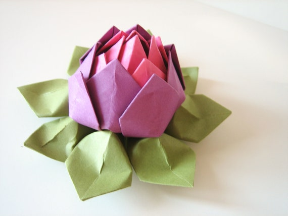 Origami Lotus Flower // Beet, Fuchsia Pink and Moss Green - Mother's Day, Graduation, Teen or Tween Girl, Birthday, Get Well - Paper Flower