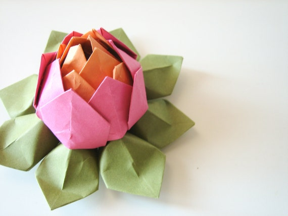 Bright Origami Lotus Flower -Pink, Orange and Moss Green - Gift, Decoration or Favor