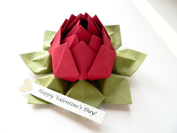 Origami Lotus Flower with PERSONALIZED Romantic Message  in Deep Red and Moss Green with gift box
