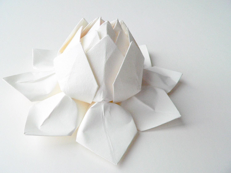 Handmade paper flower origami lotus flower all white - Origami origami origami ...