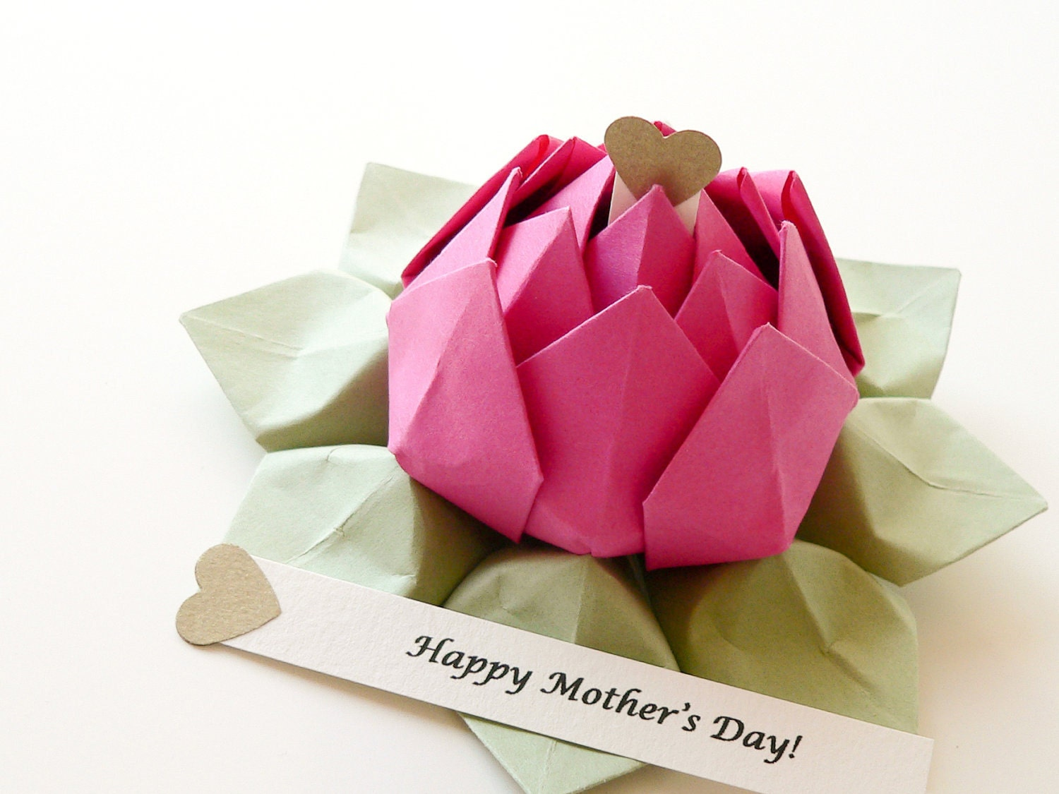 personalized mothers day origami lotus flower in fuchsia