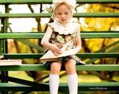 GIRLS FALL DRESS-   Sleeveless Yoke dress with ruffles and buttons in MInt/Chocolate