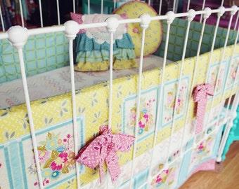 "Baby Girl Nursery  Bedding - Crib Set  ""Square Dance Dream """