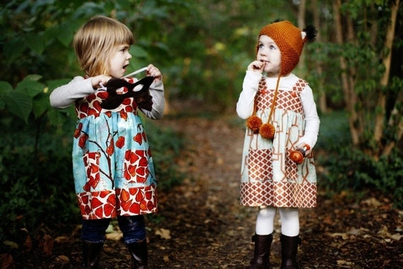 Autumn Fox  Jumper Dress- modern girls fall tunic dress
