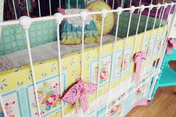 "Baby Girl Nursery  Bedding - Crib Set  ""Square Dance Dream """