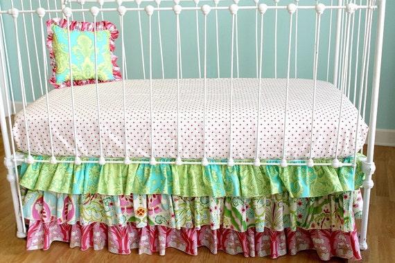 """Custom Bumperless Crib Bedding - """"Whimsical Garden"""" design"""