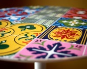 Small Pedestal end table patchwork quilt top Enamel