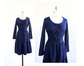 Bow Dress 1960s Navy Blue Dress