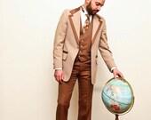 SALE Oh Yeah - 1970s Brown Tuxedo - Vintage  Tux - Three Piece Suit
