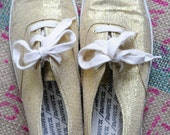 Olympic Gold Sparkle tennies - Size 8