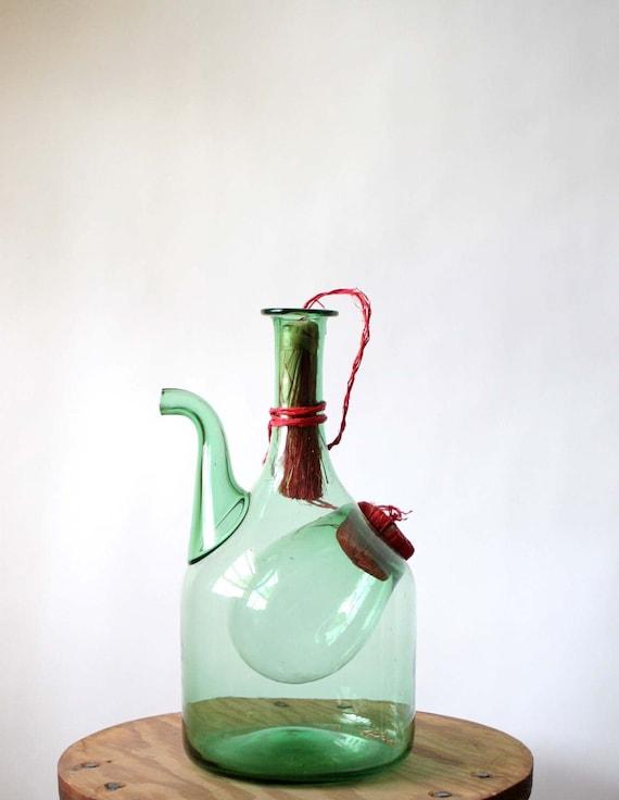 Green Glass Decanter