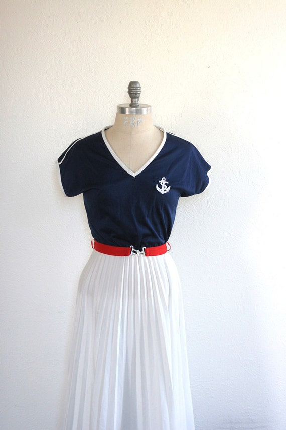 Nautical Dress - Anchors and Pleats