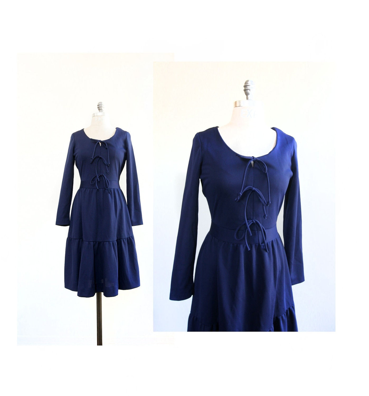 bow dress 1960s navy blue dress by dingaling on etsy