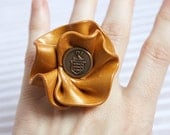 Gold Ring Flower Ring Shimmery Gold Cocktail Ring