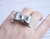 Bow Ring Adjustable Silver Shimmery Ribbon
