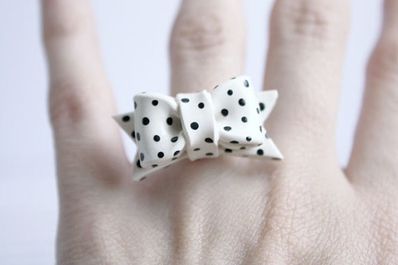 Bow Ring Black and White PolkaDot Adjustable Cocktail Ring French