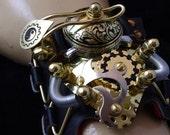 STEAMPUNK Watch Engraved Victorian Goth LARP Cuff Punk Brass Bracelet  - Exclusively from Steampunkdesign