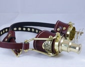 Steampunk Goth Industrial Goggles Cosplay LARP Telescope BROWN