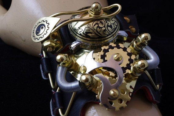 STEAMPUNK Watch Engraved Victorian Goth LARP Cuff Punk Brass Bracelet  - Exclusively from Steampunkdesign