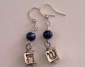 Earrings- Dreidel/Jewish/religious, blue freshwater pearls, dangle- FREE SHIPPING
