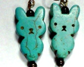 Earrings- Turquoise colored rabbit/bunny howlite beads, antique bronze beads, antique bronze ear wires FREE SHIPPING