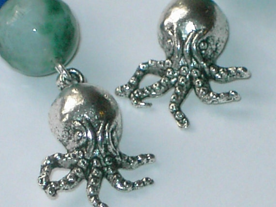 SALE-Octopus with blue, green jade earrings FREE SHIPPING