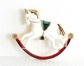 Vintage Rocking Horse Brooch Christmas Brooch