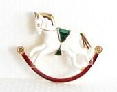 Vintage Rocking Horse Brooch Christmas Brooch