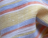 Vintage Crinkly Cotton Striped Scarf Pale Yellow Pale Blue White and Orange