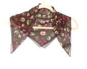 Vintage Brown Silk Chiffon Scarf