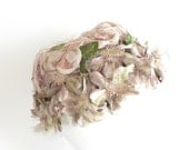 Vintage Shabby Chic Taupe and Green Ladies Hat