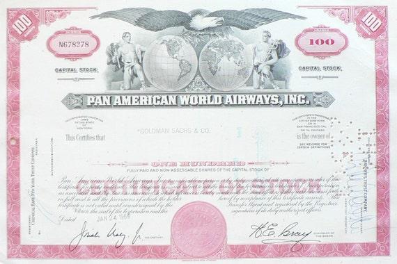 Vintage Pan American World Airways Stock Certificate Issued 1969