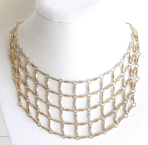Vintage Gold Tone Bib Mesh Necklace or Choker