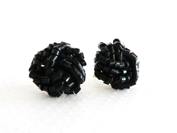Vintage Black Glass Bugle  Bead Chunky Earrings for Pierced Ears