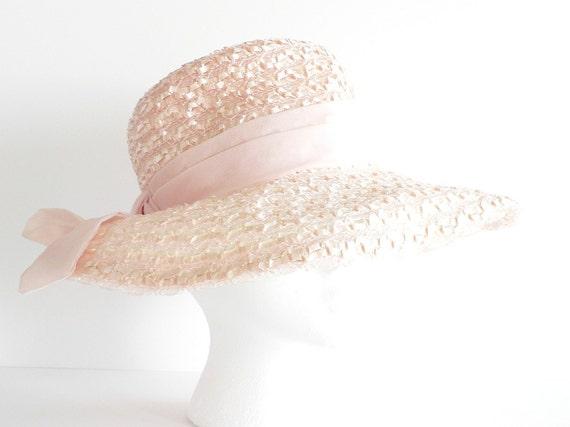 Vintage Pale Pink Wide Brimmed Straw Hat