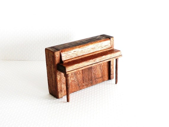 Vintage Upright Piano Dollhouse Furniture