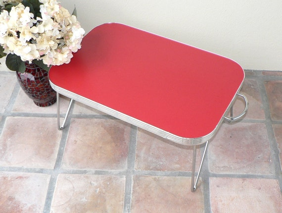 Vintage Formica Table  Folding Table  Lap Table  Bed Table  Red Table