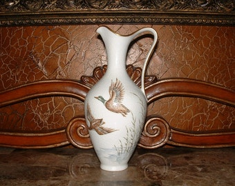 Schumann Bavaria Hand Painted Mallards Over The Marsh Limited Edition Vase // Ewer// 299