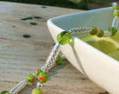 Sprite -- green and silver beaded necklace